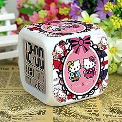Hello Kitty Maruko 7 Colors Changing Digital Clock LED Alarm Clock Lovely Cartoon Night Light Alarm Clock for Kids,Birthday Gifts,Style 72