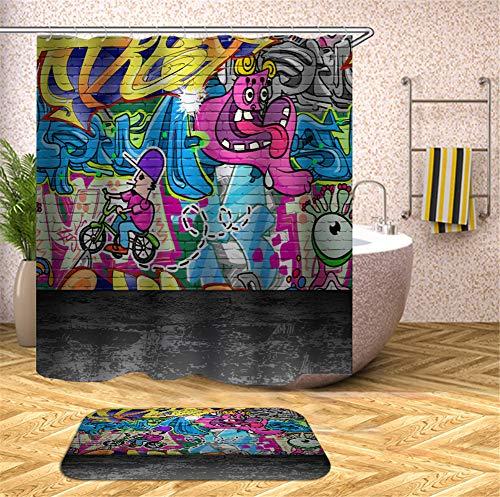 ZZZdz muurschilderijen. Kinderfiets. Douchegordijn. Waterdicht. Eenvoudig te reinigen. 180 x 180 cm. Tapijt. Plus fluweel. 40 x 60 cm. Badkameraccessoires.