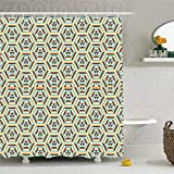 CHENHAO Shower Curtain Washable Geometric Decor Pop Art Style Retro Dimensional Gradient Fractal Tri...