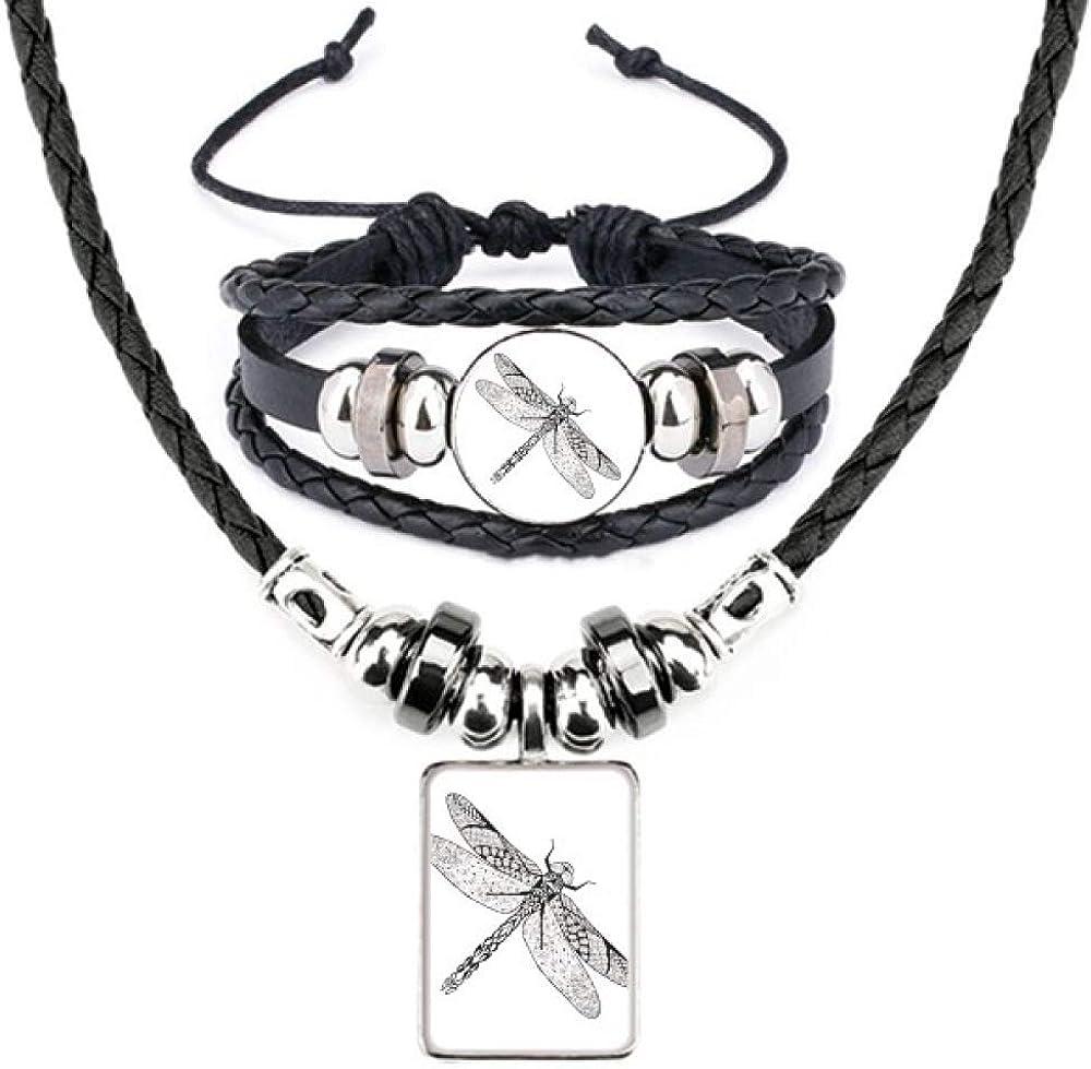 Dragonfly Animal Portrait Sketch Leather Necklace Bracelet Jewelry Set