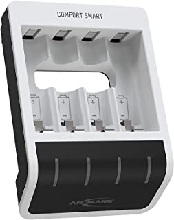 ANSMANN Batteriladdare för 4 x NiMH AA/AAA-batterier – automatisk batteriladdare med Perfect-7-laddningsteknik och reparat...