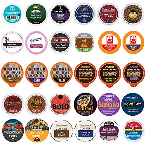 Coffee Pod Variety Pack, Dark Roast and Bold Flavors, Single Serve Cups for Keurig K-Cup Machines - Robust Assortment with No Duplicates, 30 Count - Great Coffee Gift