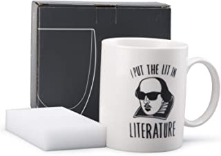 Neolith Cute Coffee Mugs with Quotes I Put The Lit in Literature 12 Oz Ceramic Fun Coffee Mug Shakespeare Cup Gifts for Literature Majors & English Teachers