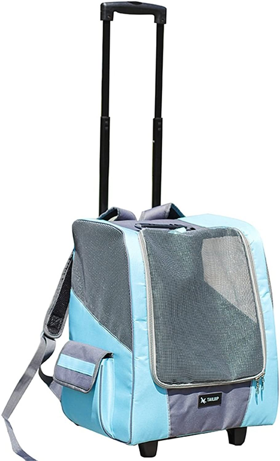 Pet trolley case Dog out carrying case Car dog cage Pet bag (color   bluee)