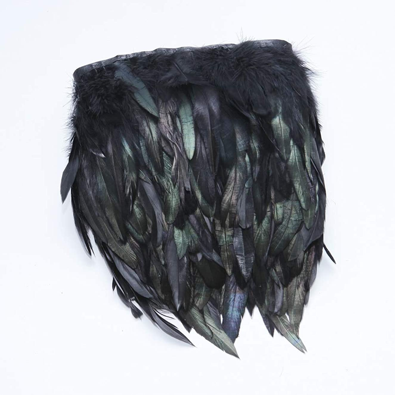 Rooster Hackle Feather Fringe Trim - 5~7 inch in Width Pack of 5 Yards (Black)