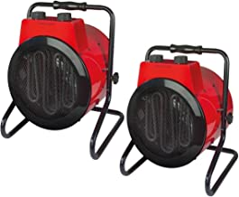 Potente juego de 2 calefactores con 3 niveles de calor, termostato, antivuelco, IPX4, 3000 W, 230 V.