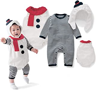 Christmas Frozen Santa Snowman Romper Waistcoat Hat Set, Olaf Cosplay Costume for 6-18 Months Newborn Infant Toddlers Baby Boys Girls