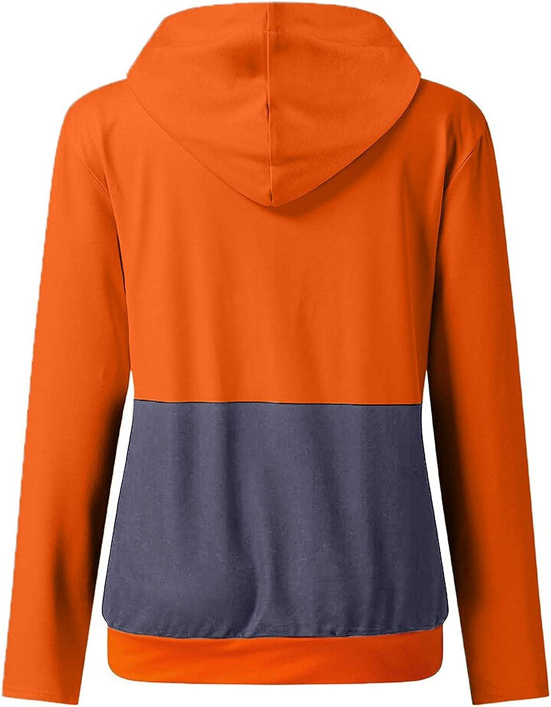 Womens Hoodies Tops Casual Long Sleeve Color Block Drawstring Tunic Sweatshirt Pullover Blouse Top