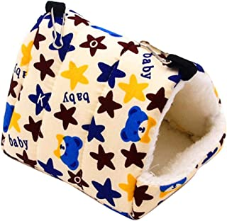 Trendyest ハムスター冬ハウス 防寒ベッド オウム 三角形ベッド 防風 小動物用 寝袋 ふわふわ フック付き 固定可能 シェルフなし 水洗い可能 吊り下げ ケージ用 可愛い動物柄