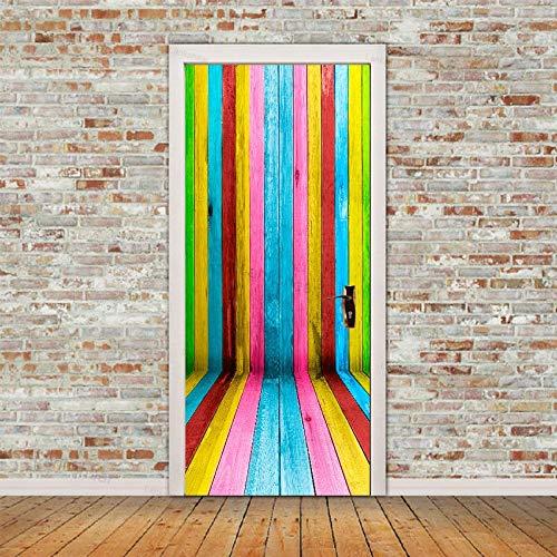 DFKJ Patrón de Puerta de Madera Papel Tapiz Pegatinas de Puerta 3D Color Autoadhesivo diseño del hogar decoración Cartel Sala de Estar Dormitorio Mural A14 86x200cm