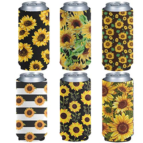 chaqlin - Juego de 6 fundas para botellas para regalo de mujer, diseño de girasol, diseño de flores, para bebidas delgadas, protectores aislados, para enfriar latas
