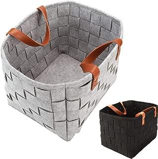 2 Pcs (Black+Grey) Collapsible Storage Basket Bins Laundry Basket Felt Rectangular Fabric Storage Box Cubes with Handles Organizer for Toys/Magazines/Newspapers