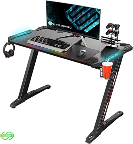 "Eureka Ergonomic Z1-S Gaming Desk 44.5"" Z Shaped Office PC Computer Gaming Desk Gamer Tables Pro with LED Lights Cont..."