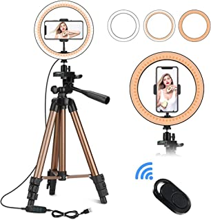 YLLN Lqdpdd LED Ring Light with Tripod Stand and Phone Holder, Desktop Photography Ring Light with 3 Lighting Modes and 10...