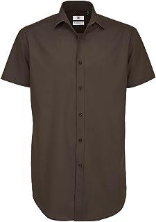 B&C Mens Black Tie Short Sleeve Formal Work Shirt