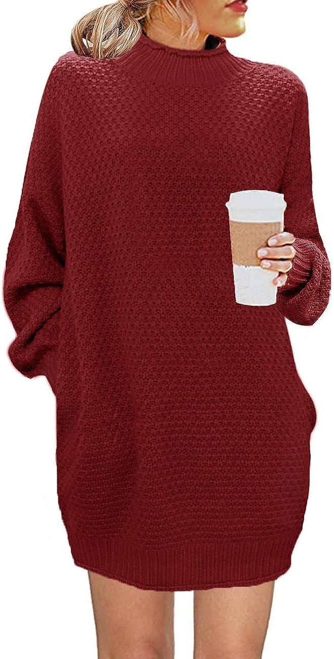 MEROKEETY Women's Turtleneck Long Sleeve Sweater Casual Loose Knit Sweater Dress