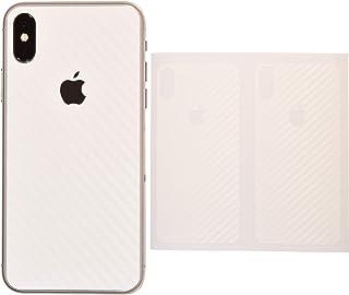 iShield Carbon Fiber Foil, Adhesivos Resistentes a arañazos para la Parte Trasera del iPhone X/XS/X MAX/XS MAX 2 Unidades, ultrafinos 70 micrones (IX/XS, Blanco)