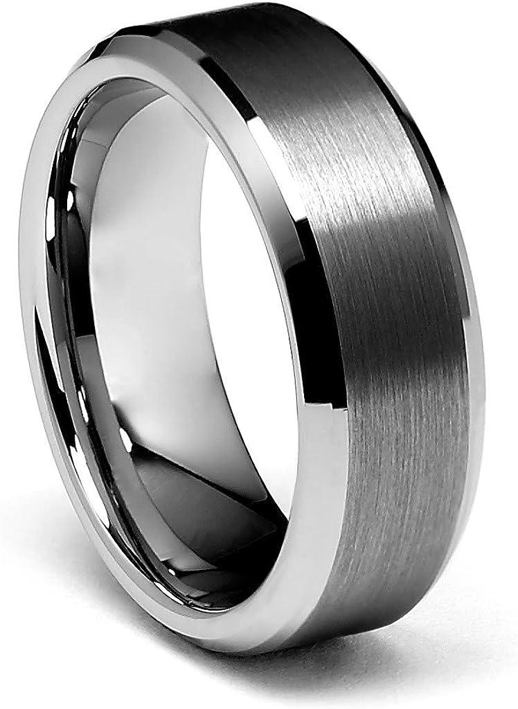 TWJC 8mm Beveled Edge Men's Tungsten Wedding Band