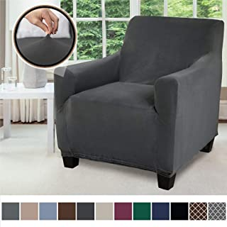 Gorilla Grip Original Velvet Fitted 1 Piece Chair Slipcover, Stretch Up to 23 Inches, Soft Velvety Covers, Luxurious Armchair Slip Cover, Spandex Chairs Furniture Protector, with Fasteners, Dark Gray