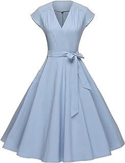 GownTown Women Vintage 1950s Retro Rockabilly Prom Dresses Cap-Sleeve