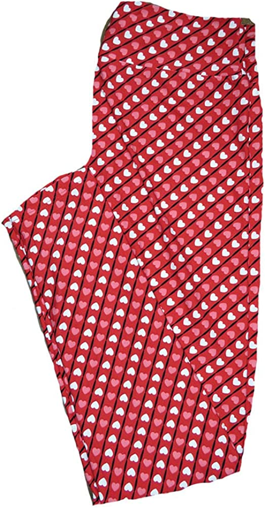 Lularoe One Size OS Red with Diagonal Thin Black Stripes w/Pink and White Polka Dot Hearts Love Valentines Leggings (OS fits Adults 2-10) OS-4207-G