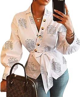 أبيكوك المرأة فانوس كم الخامس الرقبة صحيفة طباعة زر أعلى بلايز بلوزة قمصان