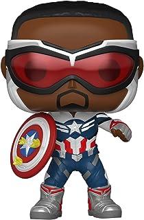 ¡Funko Pop! Marvel: Halcón y el soldado de invierno - Capitán América (Sam Wilson) con escudo, año del escudo exclusivo de Amazon
