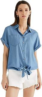 Escalier Women's Denim Shirt Chambray Tencel Sleeveless V-Neck Jean Shirts Blouse