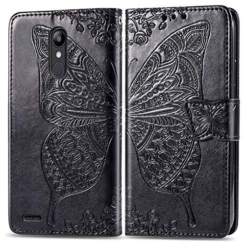 Hülle für LG K9 Hülle Handyhülle [Standfunktion] [Kartenfach] Tasche Flip Case Cover Etui Schutzhülle lederhülle klapphülle für LG K9 2018 - DESD020898 Schwarz