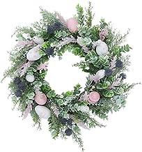KESYOO Easter Egg Flower Wreath Decorative Seasonal Garland Spring Front Door Hanger Easter Hanging Ornament for Indoor Wa...