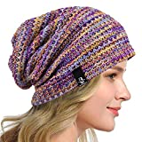 HISSHE Women's Slouchy Beanie Knit Beret Skull Cap Baggy Winter Summer Hat B08w (Purple/Yellow/White)