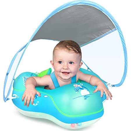 Baby Pool Float Inflatable Summer Swimming Float Boat Car Ring Ride-On Toy with Canopy for Kids Toddlers Aged 3-36 Months