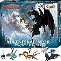 CRAZE Adventskalender 2020 DRAGONS Drachenzähmen Spielfiguren Weihnachtskalender Spielzeug Drachenfiguren Drachen Zubehör für Jungen und Mädchen 24645