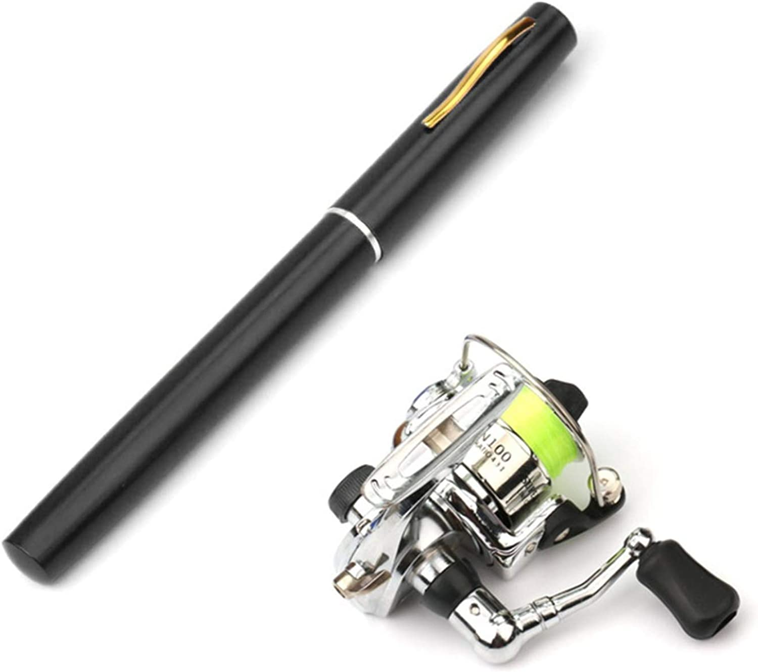 1M   1.4M Mini Pocket Pen Shape Aluminum Alloy Fishing Rod Portable Baitcasting Rods Pole + Fishing Reel Set,Black,1m