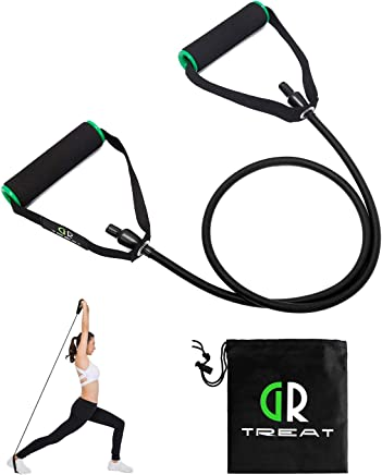 (Black - 20LB) - GUARD & REVIVAL TREAT Resistance Exercise Tube, Resistance Band with Handles,Exercise Cords for Resistance Training, Physical Therapy, Home Workouts, Boxing Training,Sold Individual