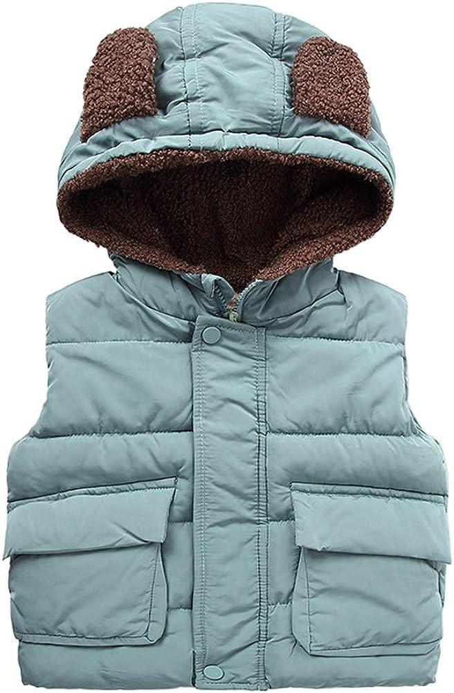 LittleSpring Little Boys Vest Jacket with Ear Hood Fleece Lined Warm