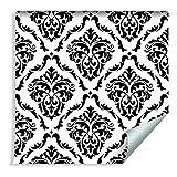 Muralo Papier Peint Ornements Classiques en Noir et Blanc Vinyle Design Géométrique Glamour - 109538591