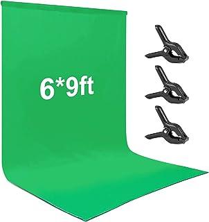 Andoer Fondo de Fotografía Estudio, 1.8x2.8M Croma Verde Lavable e Ironable Green Screen Tejido de Algodón y Poliéster Bac...