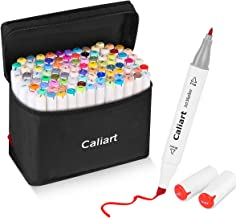Caliart 100 Colors Artist Alcohol Markers Dual Tip Art Markers Twin Sketch Markers Pens Permanent Alcohol Based Markers with Case for Adult Kids Coloring Drawing Sketching Card Making Illustration