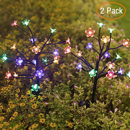 Solar Garden Lights Outdoor, 2 Pack Solar Powered Pathway Lights with Multi-Color 20 LED Cherry Blossom Flower Solar Fairy Flower Lights Waterproof for Garden Lawn Patio Yard Pathway Decoration