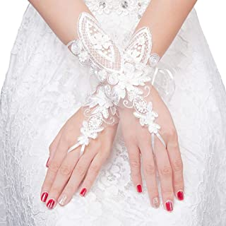 Womens Long Lace Gloves Flower Fingerless for Wedding Party