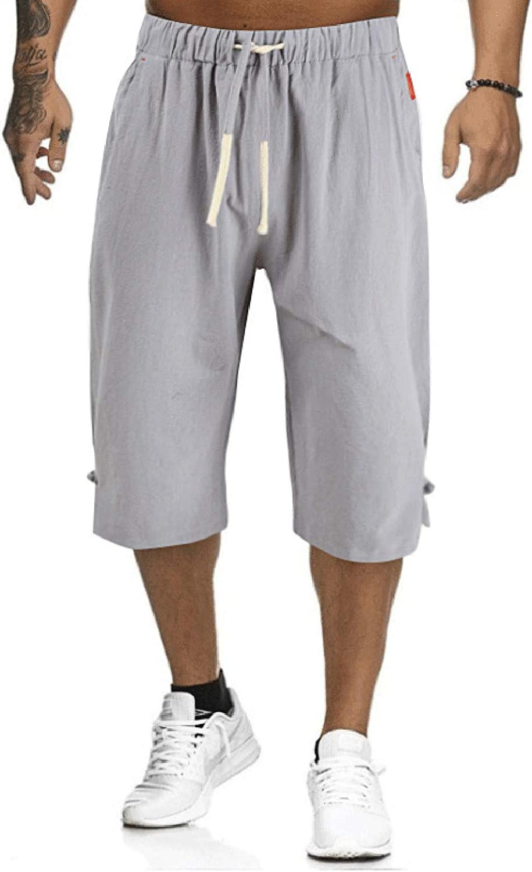 FACAIAFALO Men's Fashion Cotton Linen Shorts Lightweight Elastic