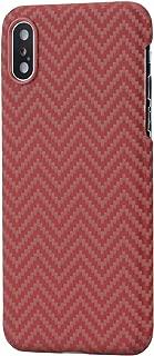 「PITAKA」Magcase iPhoneXs Max 対応 ケース スマホケース 軍用防弾チョッキ素材 アラミド繊維 超薄(0.65mm) 超軽量(17g) 6.5インチ 超頑丈 耐衝撃 高耐久性 スリム 薄型 ミニマリスト シンプル 高級なカーボン風 ワイヤレス充電対応(赤/オレンジ M織)