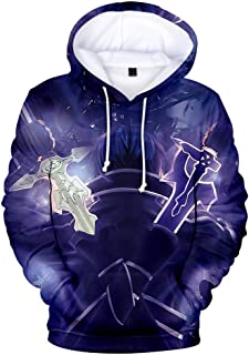 Unisex Teenagers Hoodies Sword Art Online Re:Life in A Different World from Zero 3D Print Sportswear Sweatshirt with Pocket Top Cosplay Coat,A,L