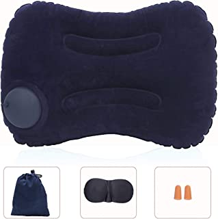 Travel Foldable Pillow Neck & Head & Lumbar Support Pillow Breathable Cover Ultra Soft Flock Fabric Chair Sofa Rest Cushion with 3D Contoured Sleep Mask&Earplugs for Office/Airplane/Car/Train