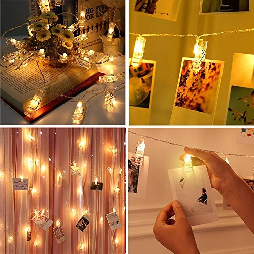 VENNKE 50 LED Photo Clips String Lights, Dimmable 9 Modes Remote & Timer Function Dual Powered Choice, Fairy Wedding Party Christmas Decor Lights for Hanging Photos Pictures Cards Artworks(N01) 4
