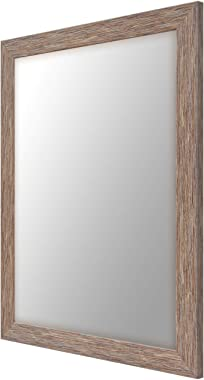999STORE Fiber Bathroom Mirror (24 x 18 inch, Brown)