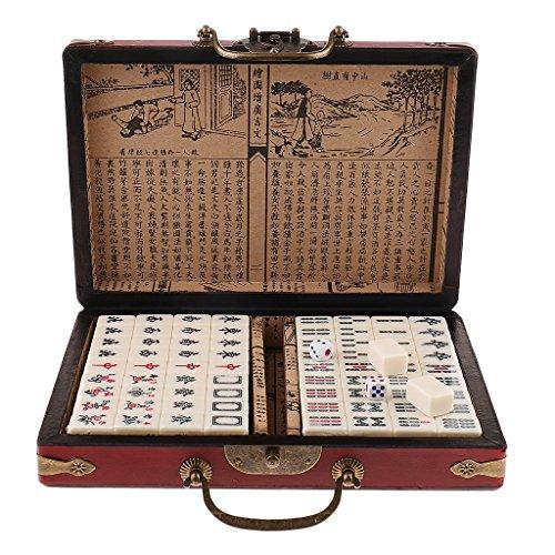 D DOLITY Chinesisches Mah Jongg Mahjong Brettspiel Gesellschaftsspiel mit Koffer