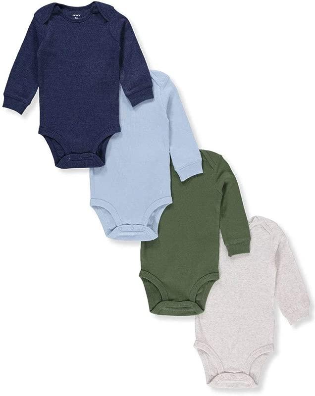 Carter S Baby Boys 4 Pack Long Sleeve Original Bodysuits Solids