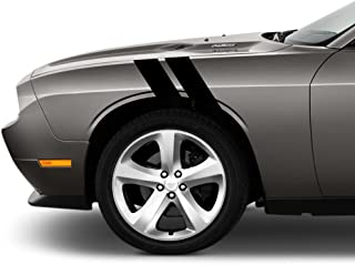 4 Inch Fender Hash Mark Bars Vinyl Rally Racing Stripes, Fits Dodge Challenger, Both Sides, Black